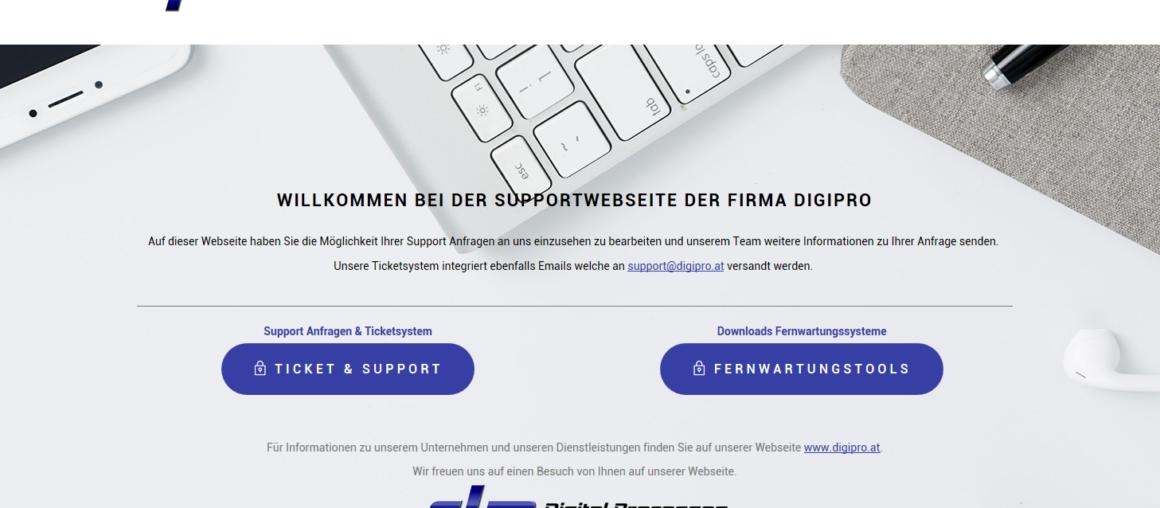 Ticketsystem und Support Webseite DigiPro